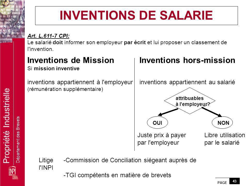 PAGE 43 Propriété Industrielle Département des Brevets Art. L.611-7 CPI: Le salarié doit informer son employeur par écrit et lui proposer un classemen