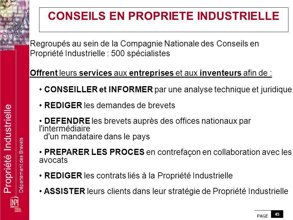PAGE 45 Propriété Industrielle Département des Brevets Regroupés au sein de la Compagnie Nationale des Conseils en Propriété Industrielle : 500 spécia