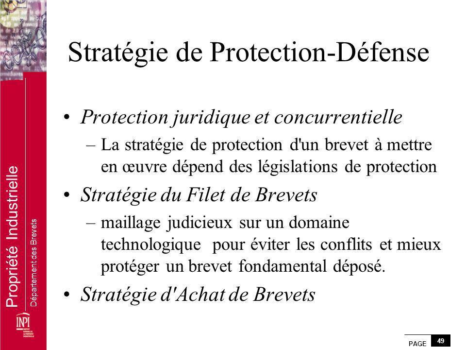PAGE 49 Propriété Industrielle Département des Brevets Stratégie de Protection-Défense Protection juridique et concurrentielle –La stratégie de protec