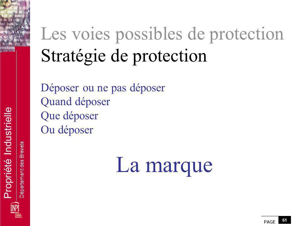 PAGE 61 Propriété Industrielle Département des Brevets Les voies possibles de protection Stratégie de protection Déposer ou ne pas déposer Quand dépos