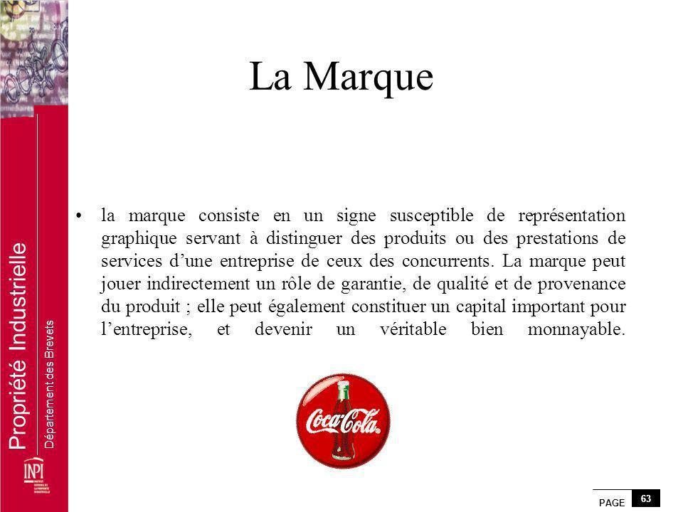 PAGE 63 Propriété Industrielle Département des Brevets La Marque la marque consiste en un signe susceptible de représentation graphique servant à dist