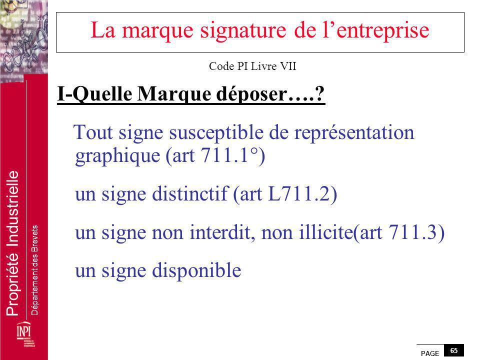 PAGE 65 Propriété Industrielle Département des Brevets La marque signature de lentreprise I-Quelle Marque déposer….? Tout signe susceptible de représe