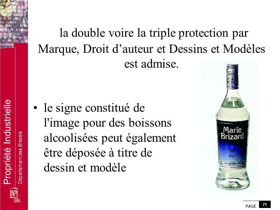 PAGE 71 Propriété Industrielle Département des Brevets la double voire la triple protection par Marque, Droit dauteur et Dessins et Modèles est admise