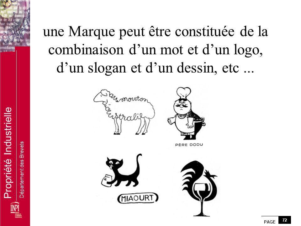 PAGE 72 Propriété Industrielle Département des Brevets une Marque peut être constituée de la combinaison dun mot et dun logo, dun slogan et dun dessin