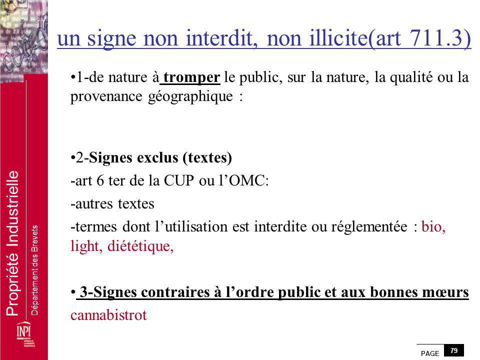 PAGE 79 Propriété Industrielle Département des Brevets un signe non interdit, non illicite(art 711.3) 1-de nature à tromper le public, sur la nature,