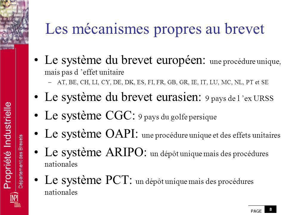 PAGE 8 Propriété Industrielle Département des Brevets Les mécanismes propres au brevet Le système du brevet européen: une procédure unique, mais pas d