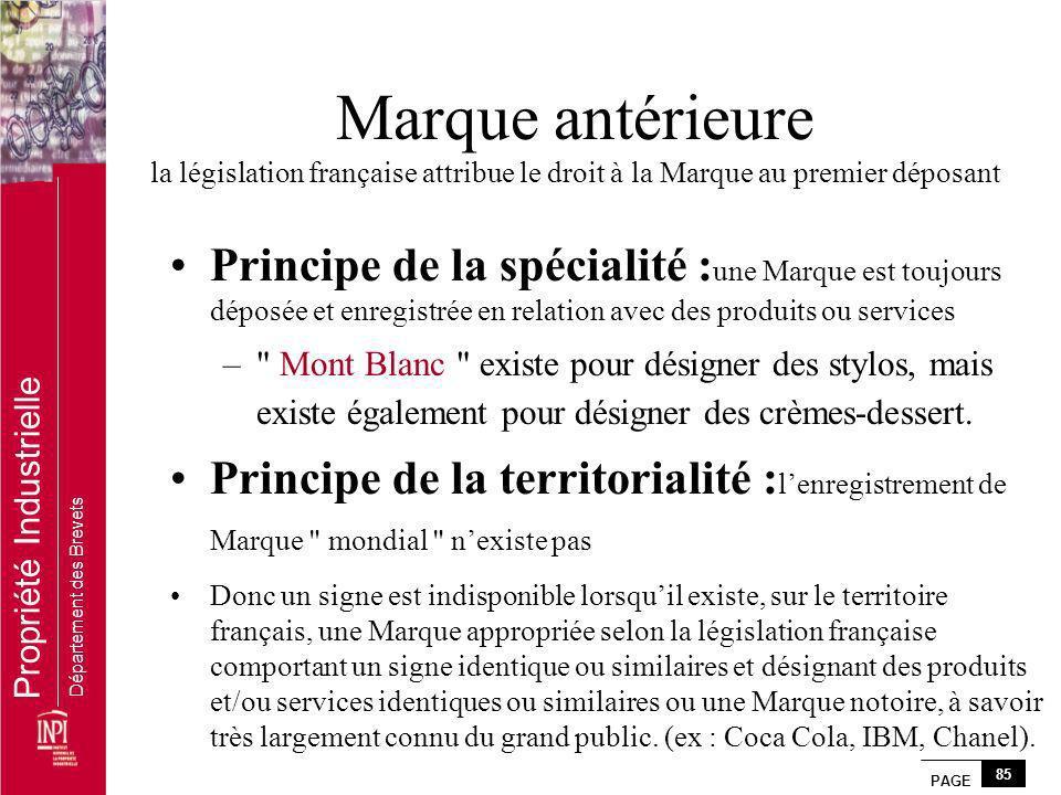 PAGE 85 Propriété Industrielle Département des Brevets Marque antérieure la législation française attribue le droit à la Marque au premier déposant Pr