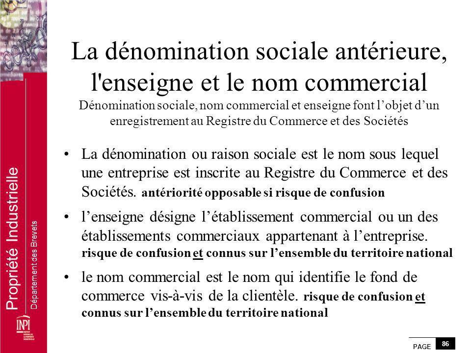 PAGE 86 Propriété Industrielle Département des Brevets La dénomination sociale antérieure, l'enseigne et le nom commercial Dénomination sociale, nom c
