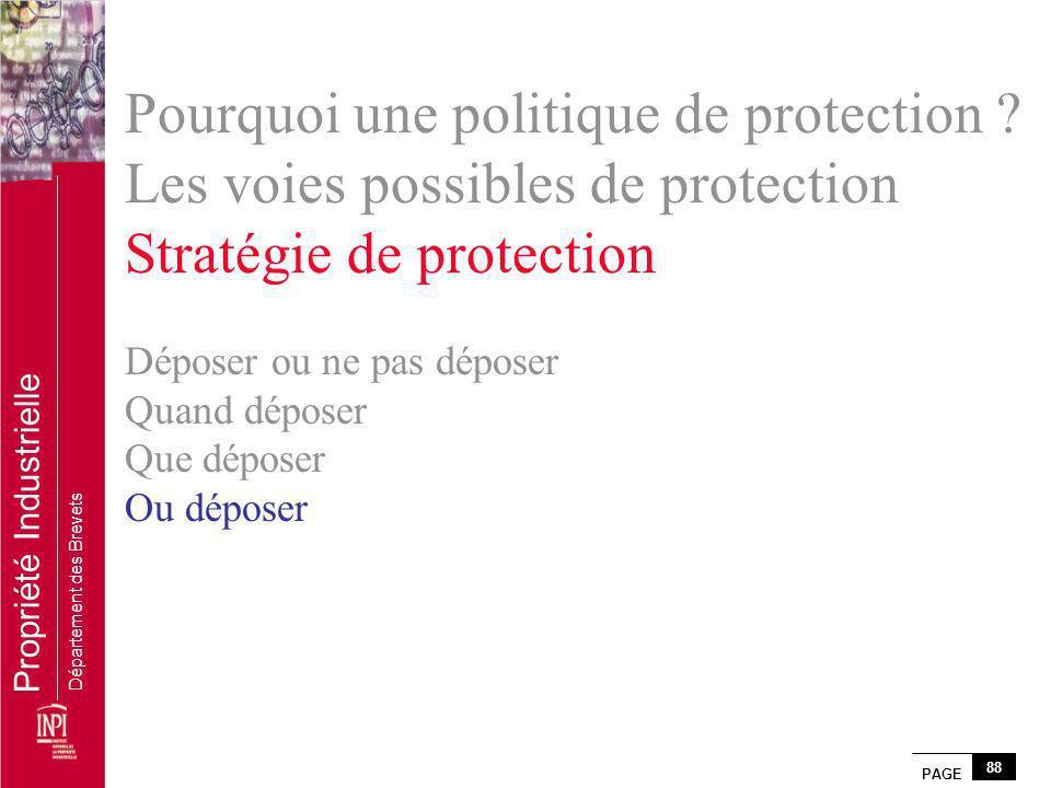 PAGE 88 Propriété Industrielle Département des Brevets Pourquoi une politique de protection ? Les voies possibles de protection Stratégie de protectio
