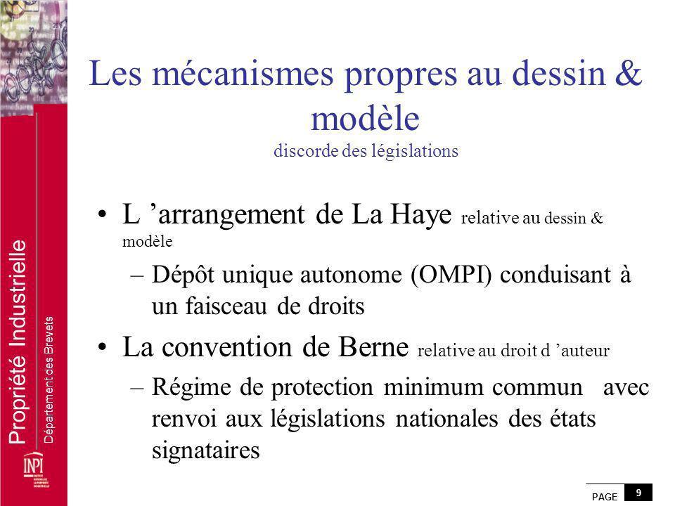 PAGE 9 Propriété Industrielle Département des Brevets Les mécanismes propres au dessin & modèle discorde des législations L arrangement de La Haye rel