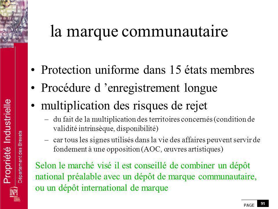 PAGE 91 Propriété Industrielle Département des Brevets la marque communautaire Protection uniforme dans 15 états membres Procédure d enregistrement lo