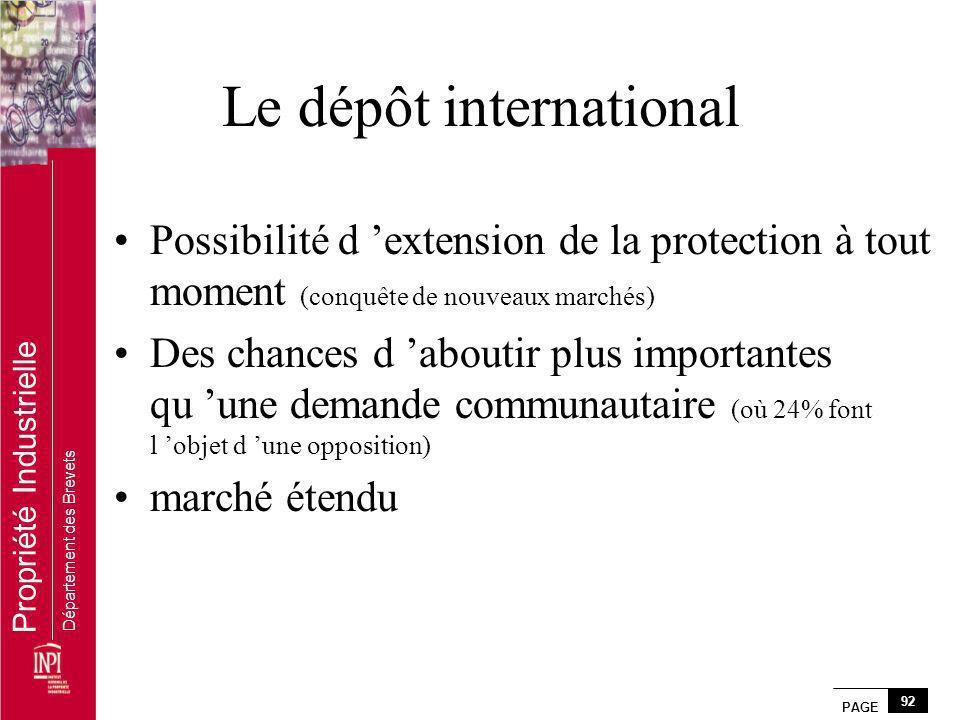PAGE 92 Propriété Industrielle Département des Brevets Le dépôt international Possibilité d extension de la protection à tout moment (conquête de nouv