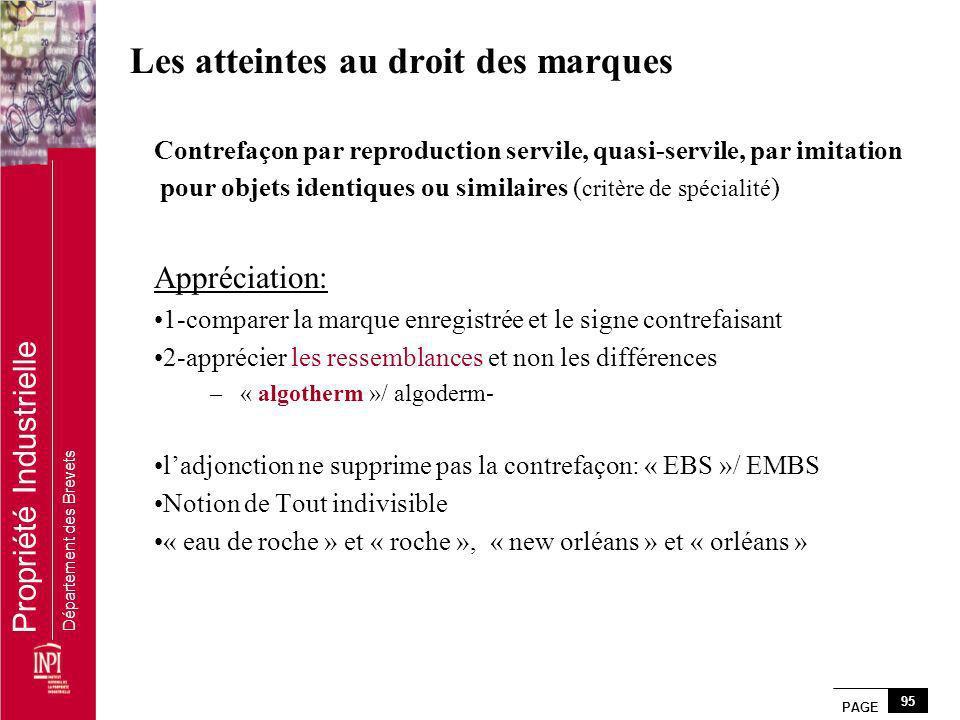 PAGE 95 Propriété Industrielle Département des Brevets Les atteintes au droit des marques Contrefaçon par reproduction servile, quasi-servile, par imi
