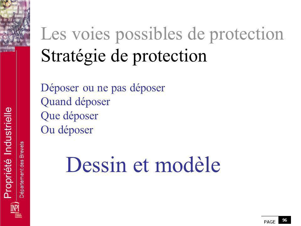 PAGE 96 Propriété Industrielle Département des Brevets Les voies possibles de protection Stratégie de protection Déposer ou ne pas déposer Quand dépos