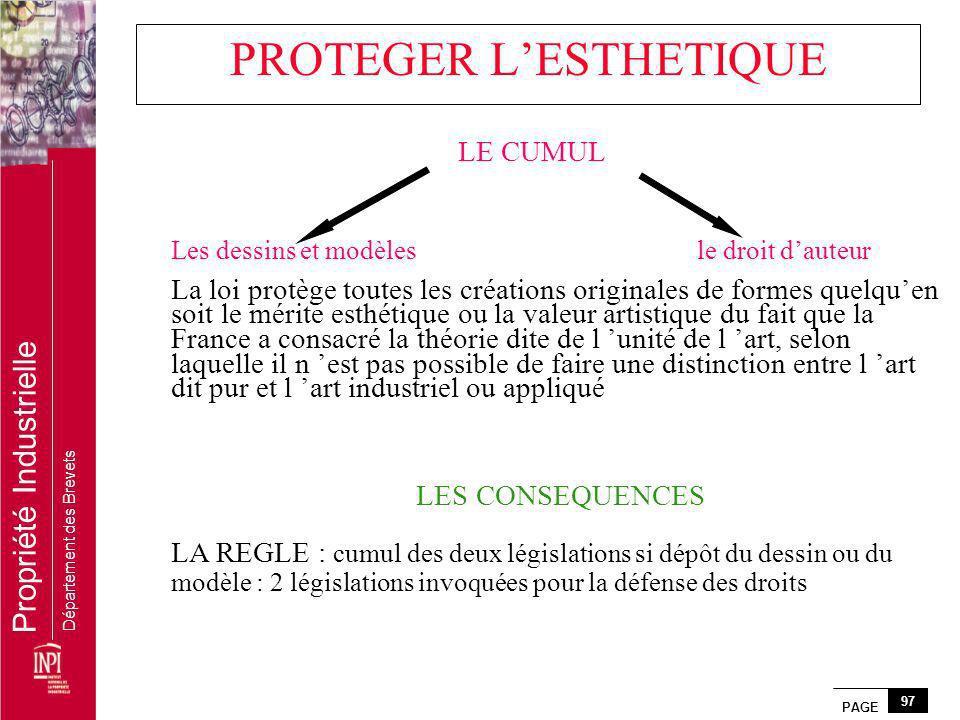 PAGE 97 Propriété Industrielle Département des Brevets PROTEGER LESTHETIQUE Les dessins et modèlesle droit dauteur La loi protège toutes les créations