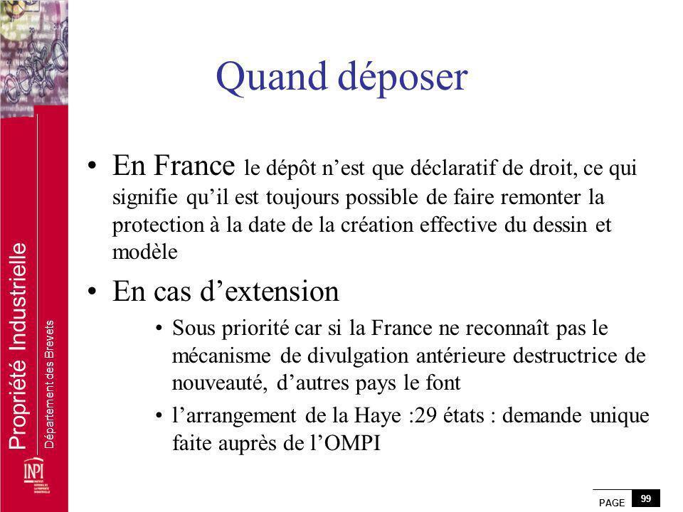 PAGE 99 Propriété Industrielle Département des Brevets Quand déposer En France le dépôt nest que déclaratif de droit, ce qui signifie quil est toujour