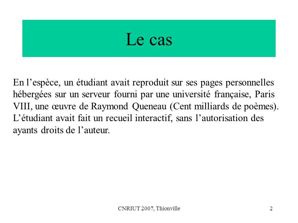 CNRIUT 2007, Thionville23 Interprétation avec Saussure Considérons les premières pages du Cours de linguistique générale de F.