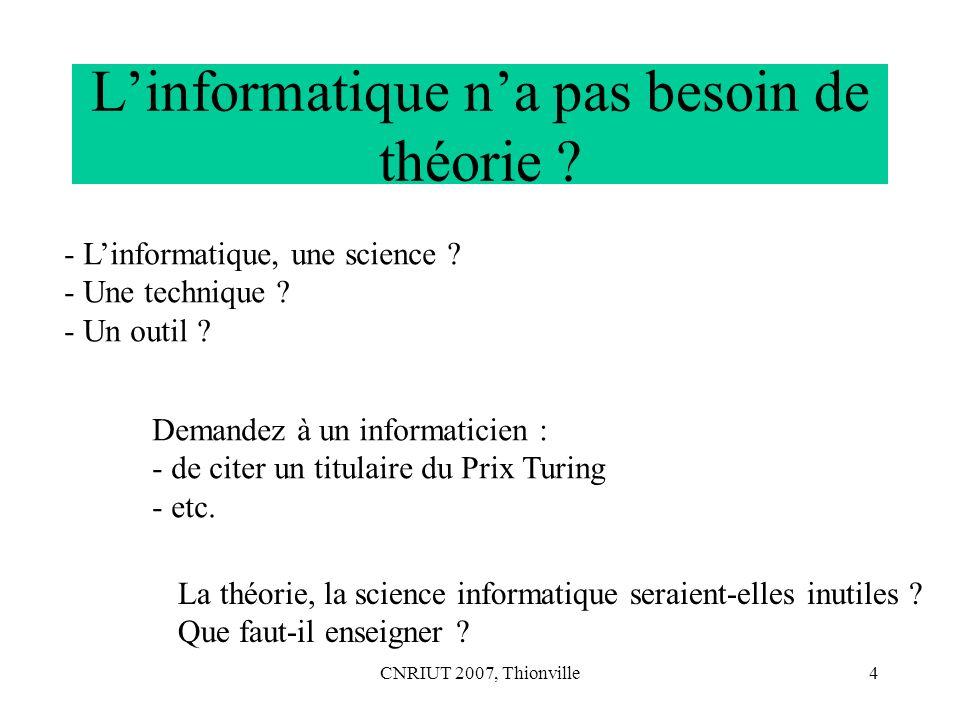 CNRIUT 2007, Thionville15 Discret synonyme de Numérique Comme, aussi bien un alphabet binaire (composé de deux éléments) qu un alphabet non binaire (comme l alphabet français) est un ensemble d éléments (i.e.