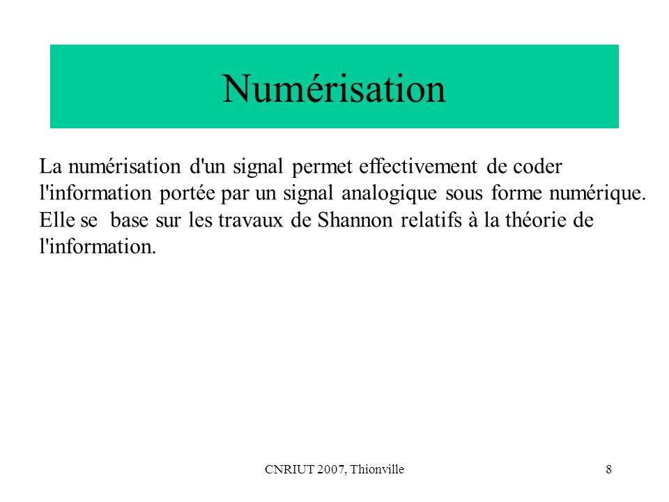 CNRIUT 2007, Thionville9 La numérisation dun signal comporte normalement 3 phases : – échantillonnage du signal (à une fréquence > ou = au double de la fréquence maximale du signal analogique d après Shannon[1]), i.e.
