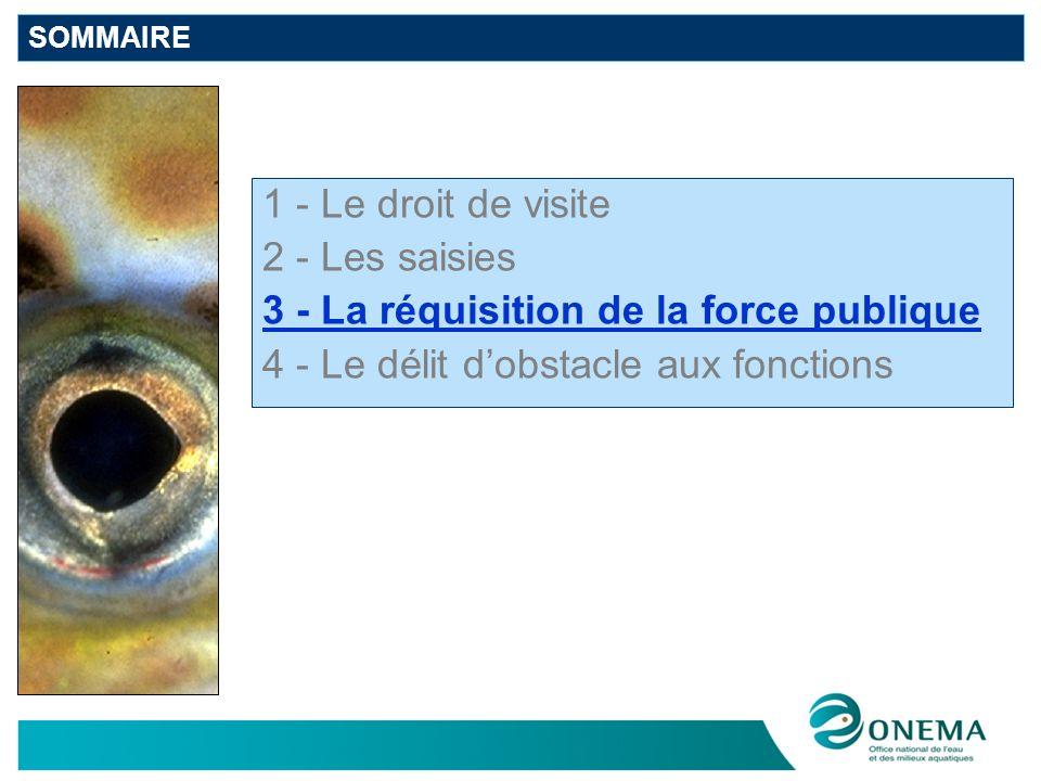 SOMMAIRE 1 - Le droit de visite 2 - Les saisies 3 - La réquisition de la force publique 4 - Le délit dobstacle aux fonctions