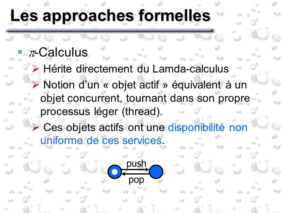 Les approaches formelles -Calculus Hérite directement du Lamda-calculus Notion dun « objet actif » équivalent à un objet concurrent, tournant dans son