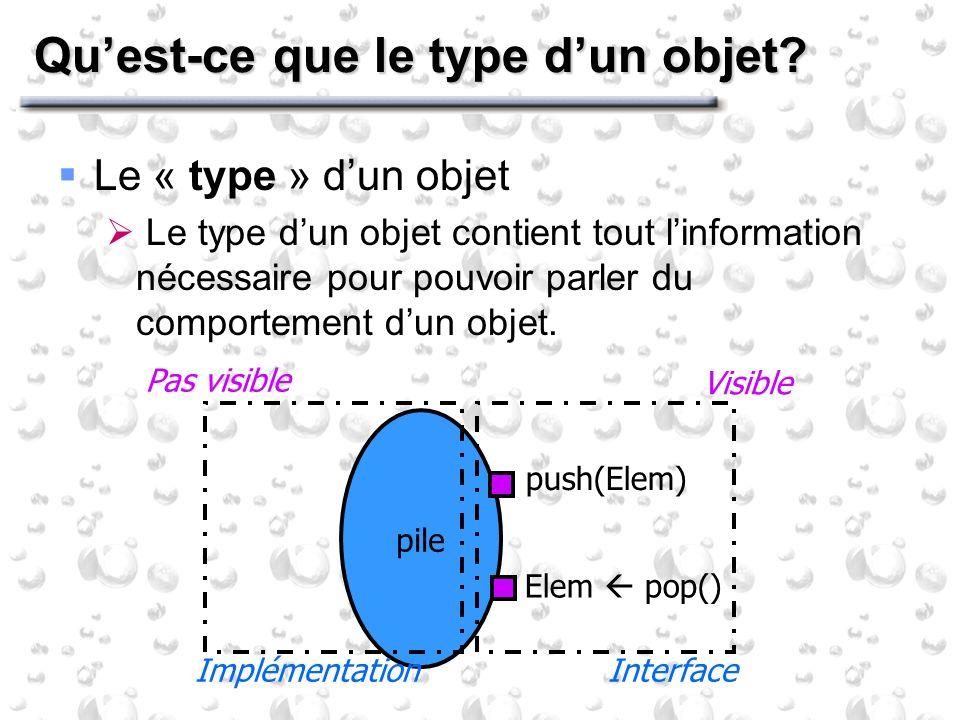 Quest-ce que le type dun objet? Le « type » dun objet Le type dun objet contient tout linformation nécessaire pour pouvoir parler du comportement dun