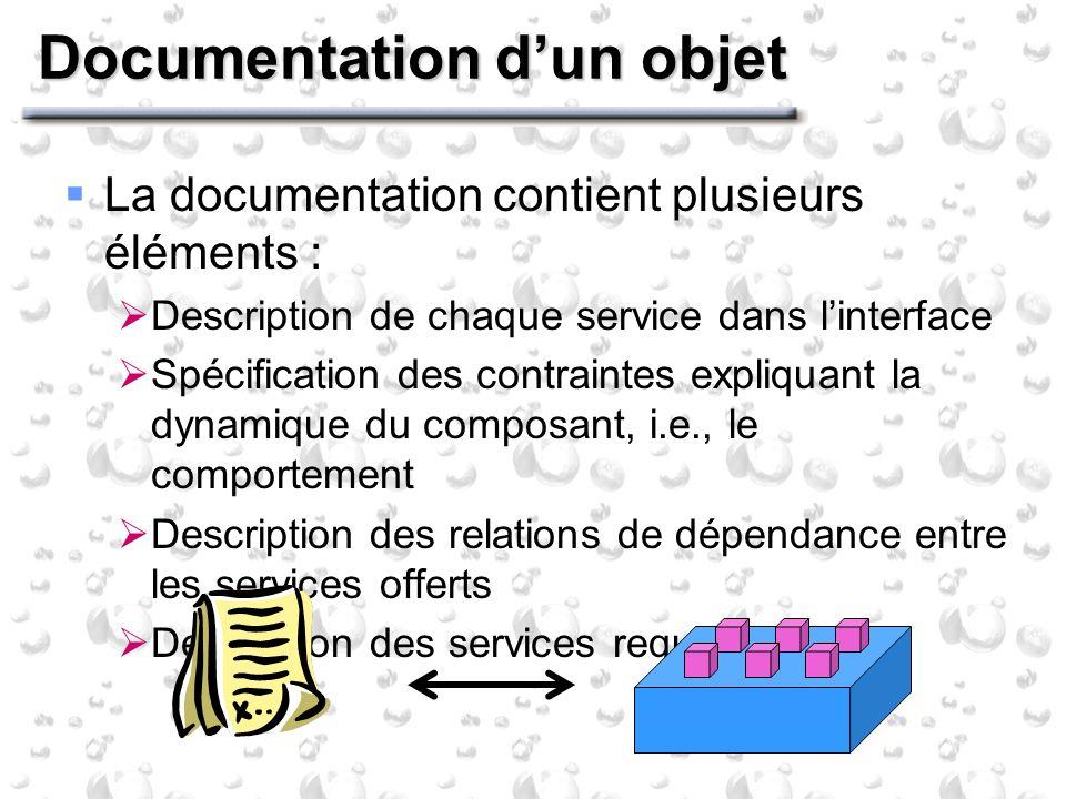Documentation dun objet La documentation contient plusieurs éléments : Description de chaque service dans linterface Spécification des contraintes exp