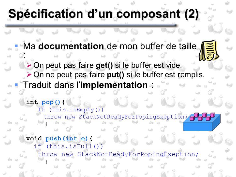 Spécification dun composant (2) Ma documentation de mon buffer de taille 1 dit : On peut pas faire get() si le buffer est vide.