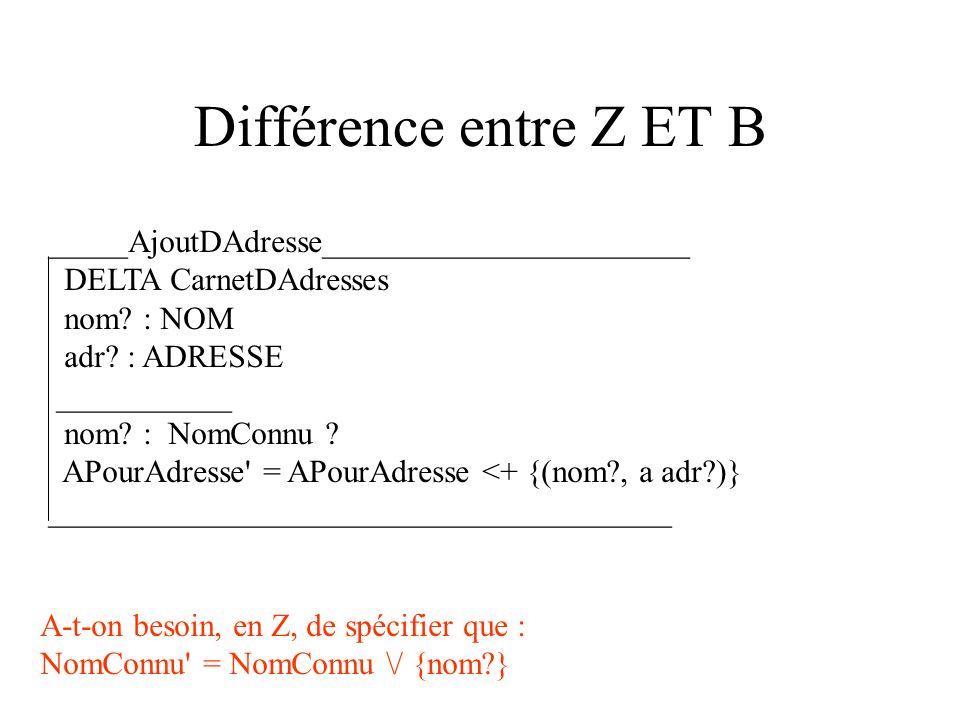 Différence entre Z ET B _____AjoutDAdresse_______________________ DELTA CarnetDAdresses nom.
