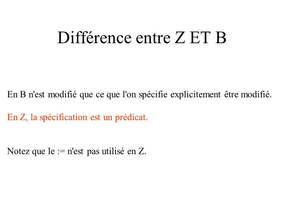 Différence entre Z ET B En B n est modifié que ce que l on spécifie explicitement être modifié.
