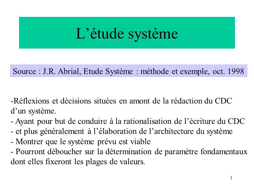 1 Létude système Source : J.R. Abrial, Etude Système : méthode et exemple, oct. 1998 -Réflexions et décisions situées en amont de la rédaction du CDC