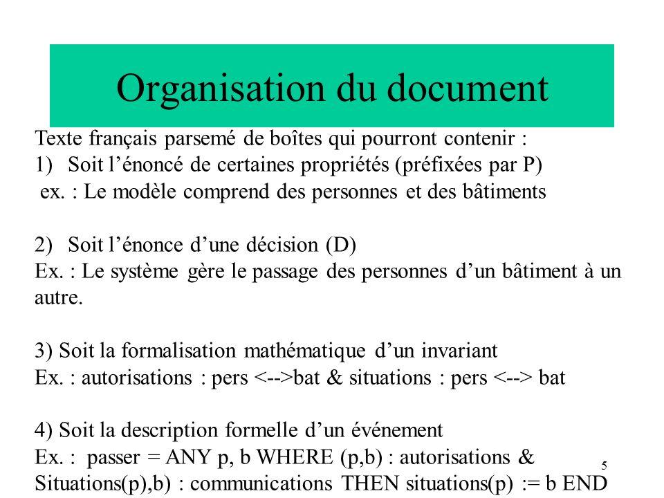 5 Organisation du document Texte français parsemé de boîtes qui pourront contenir : 1)Soit lénoncé de certaines propriétés (préfixées par P) ex. : Le