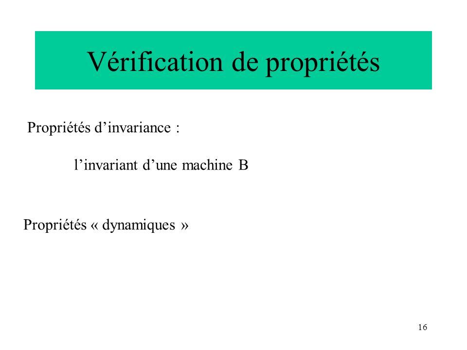 16 Vérification de propriétés Propriétés dinvariance : linvariant dune machine B Propriétés « dynamiques »
