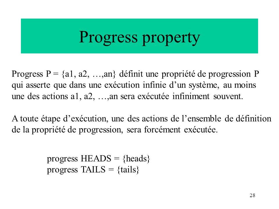 28 Progress property Progress P = {a1, a2, …,an} définit une propriété de progression P qui asserte que dans une exécution infinie dun système, au moi