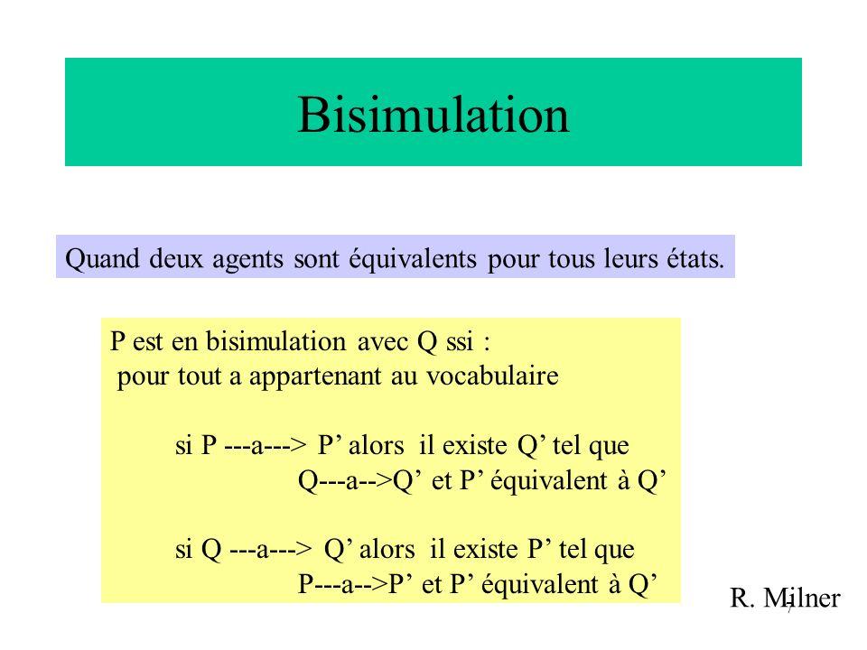 7 Bisimulation Quand deux agents sont équivalents pour tous leurs états. P est en bisimulation avec Q ssi : pour tout a appartenant au vocabulaire si