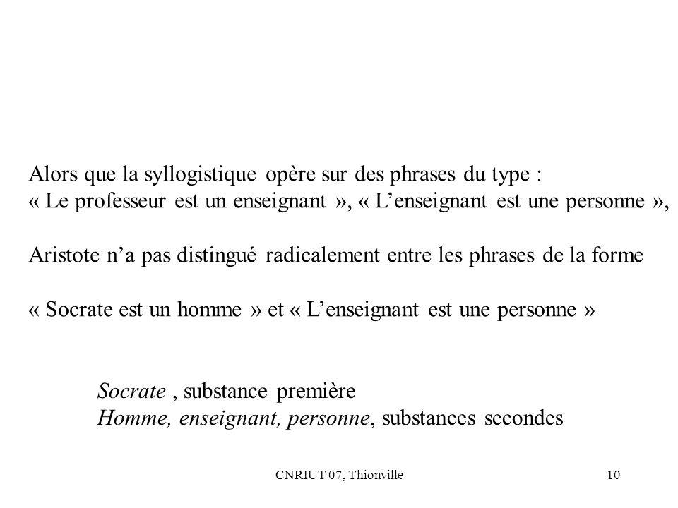 CNRIUT 07, Thionville10 Alors que la syllogistique opère sur des phrases du type : « Le professeur est un enseignant », « Lenseignant est une personne