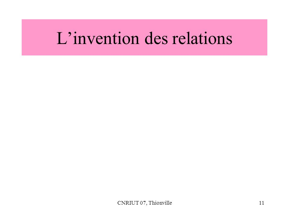 CNRIUT 07, Thionville11 Linvention des relations