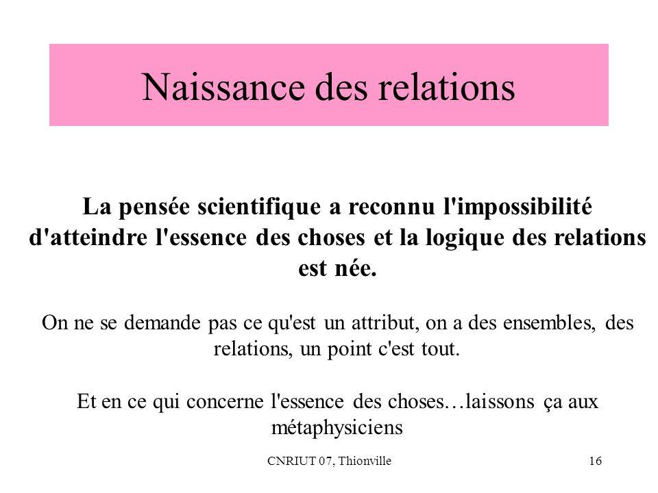CNRIUT 07, Thionville16 Naissance des relations La pensée scientifique a reconnu l'impossibilité d'atteindre l'essence des choses et la logique des re
