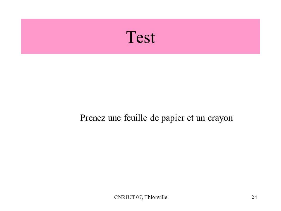 CNRIUT 07, Thionville24 Test Prenez une feuille de papier et un crayon