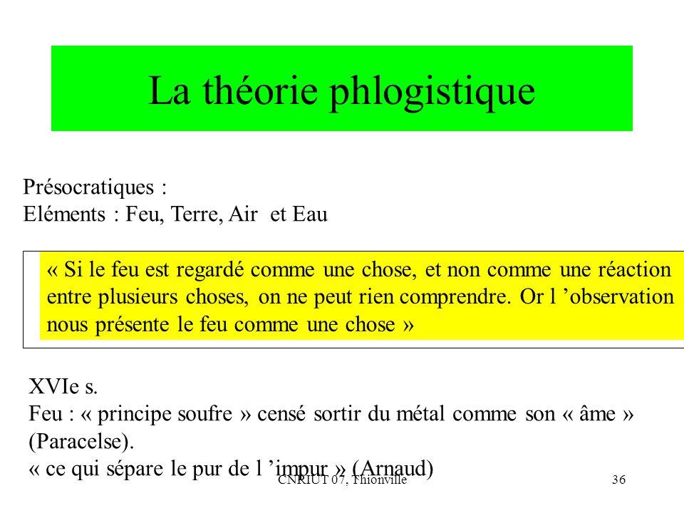 CNRIUT 07, Thionville36 La théorie phlogistique Présocratiques : Eléments : Feu, Terre, Air et Eau « Si le feu est regardé comme une chose, et non com