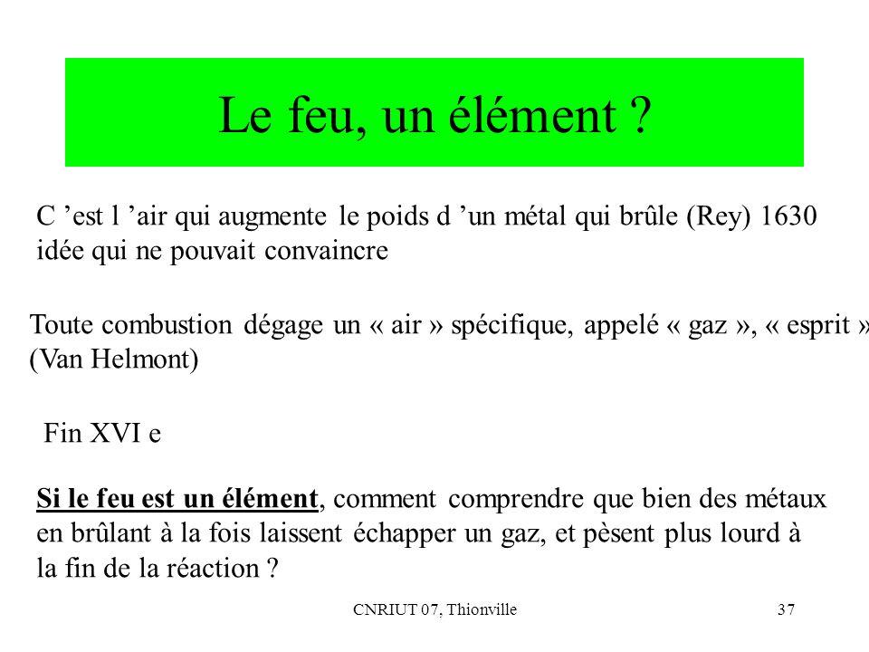 CNRIUT 07, Thionville37 Le feu, un élément ? C est l air qui augmente le poids d un métal qui brûle (Rey) 1630 idée qui ne pouvait convaincre Toute co