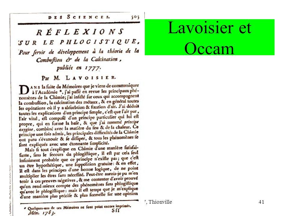 CNRIUT 07, Thionville41 Lavoisier et Occam
