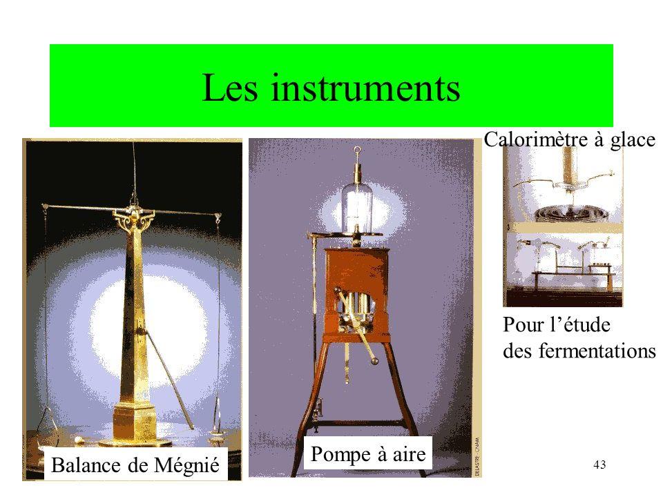 CNRIUT 07, Thionville43 Les instruments Balance de Mégnié Calorimètre à glace Pompe à aire Pour létude des fermentations