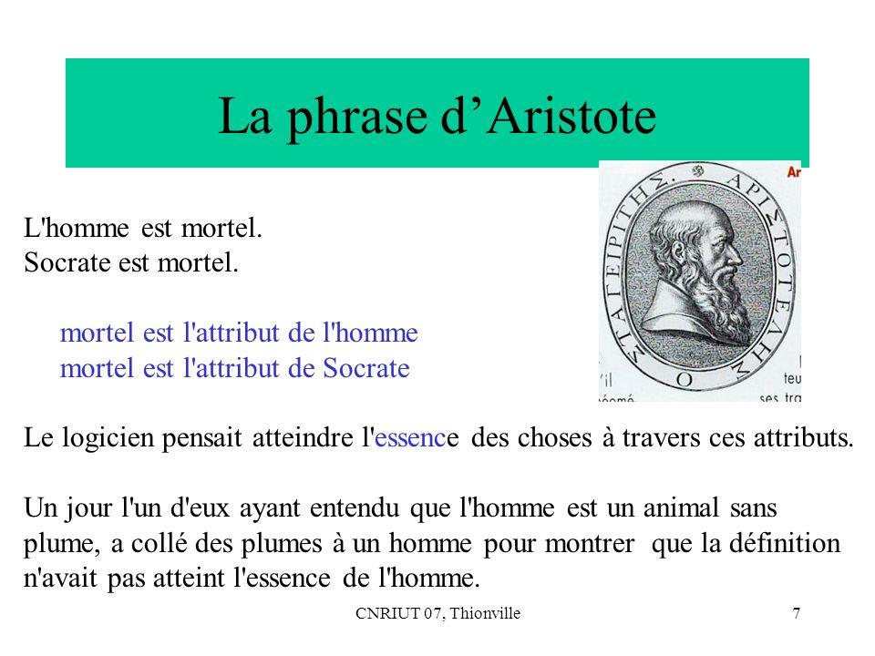 CNRIUT 07, Thionville7 La phrase dAristote L'homme est mortel. Socrate est mortel. mortel est l'attribut de l'homme mortel est l'attribut de Socrate L
