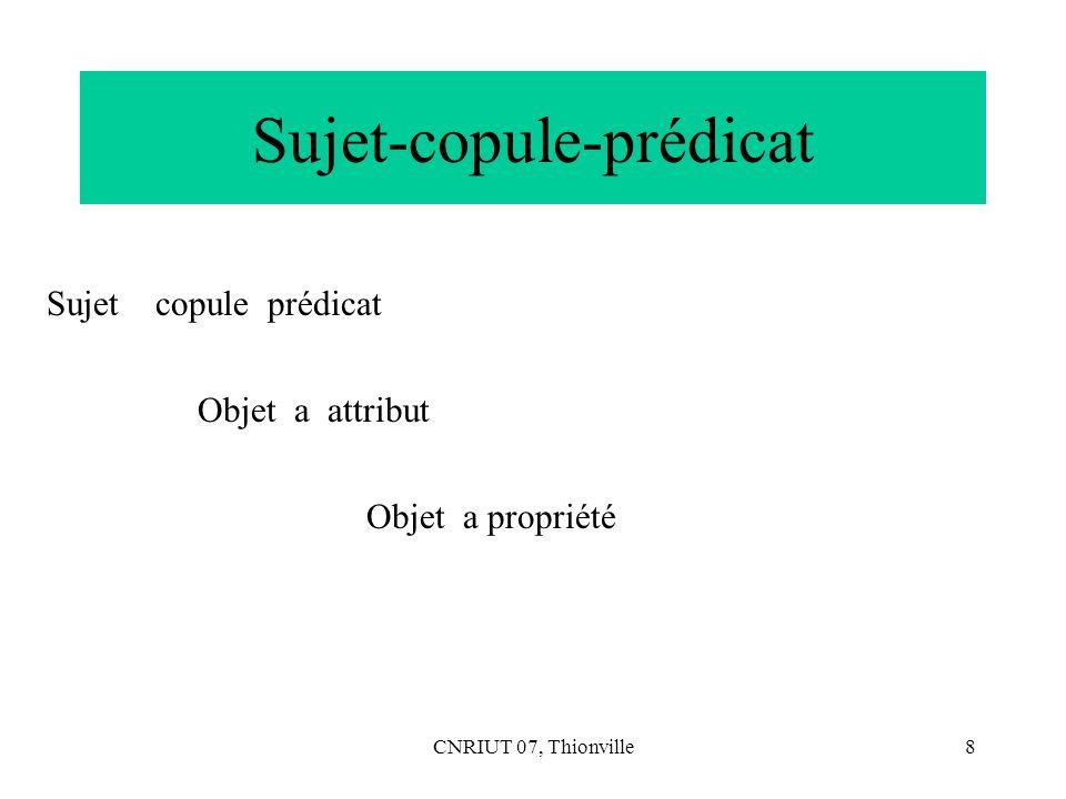 CNRIUT 07, Thionville8 Sujet-copule-prédicat Sujet copule prédicat Objet a attribut Objet a propriété