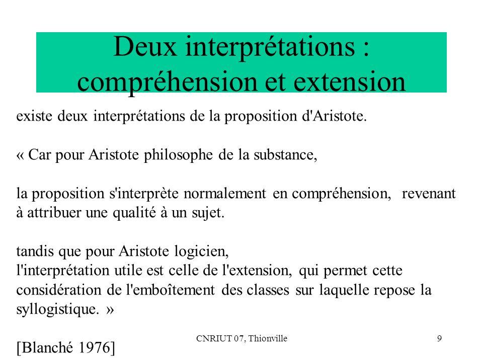 CNRIUT 07, Thionville9 Deux interprétations : compréhension et extension existe deux interprétations de la proposition d'Aristote. « Car pour Aristote