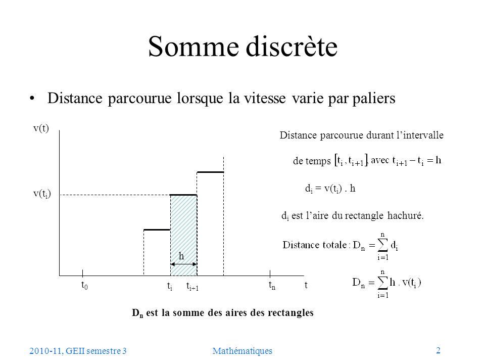 3 2010-11, GEII semestre 3Mathématiques Somme continue Distance parcourue lorsque la vitesse varie de manière continue a = t 0 b = t n t t+h v(t) v(t i ) h t