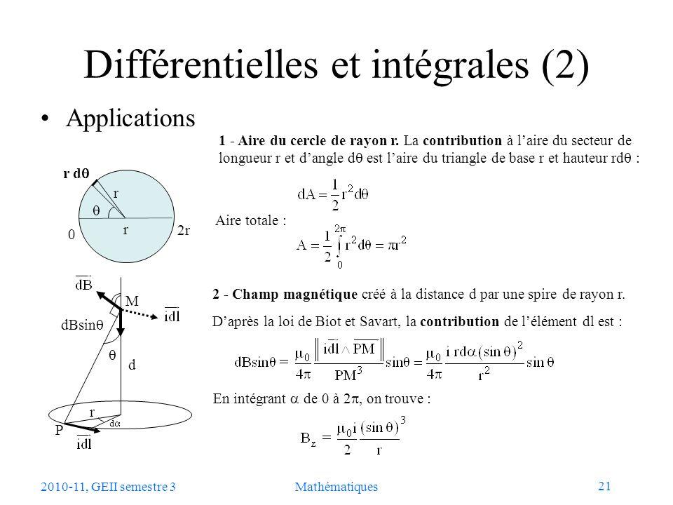 21 2010-11, GEII semestre 3Mathématiques Différentielles et intégrales (2) Applications 2r 0 r d r r 1 - Aire du cercle de rayon r. La contribution à