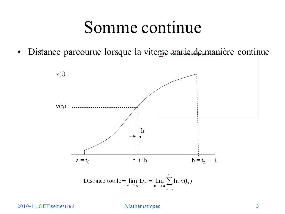 3 2010-11, GEII semestre 3Mathématiques Somme continue Distance parcourue lorsque la vitesse varie de manière continue a = t 0 b = t n t t+h v(t) v(t