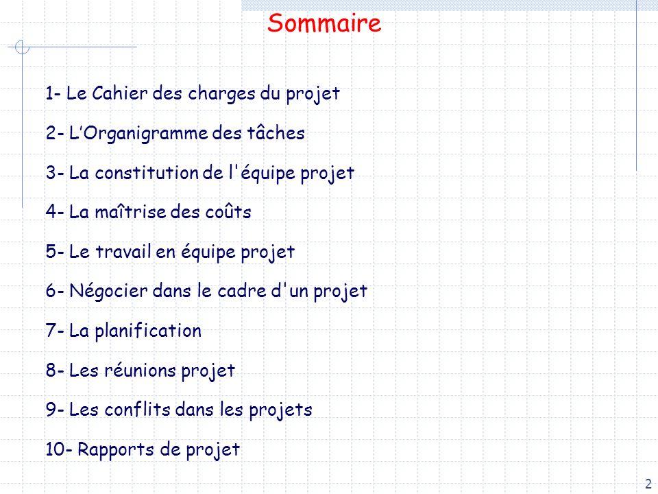 2 Sommaire 1- Le Cahier des charges du projet 2- LOrganigramme des tâches 3- La constitution de l'équipe projet 4- La maîtrise des coûts 5- Le travail